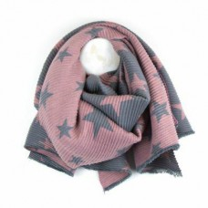 Star reversible crinkle scarf pink/grey