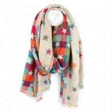 Jaquard star scarf cream