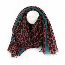 Animal print scarf w green border