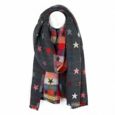Jaquard star scarf grey