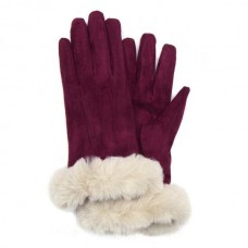 Red lined winter gloves with faux fur trim