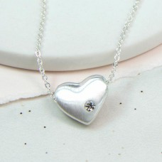 Heart with inset crystal necklace