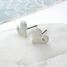 Matt silver crystal heart stud earrings