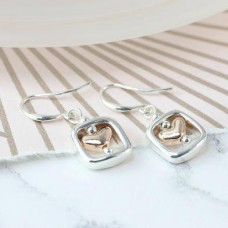 Rose gold heart and silver plated square earrings