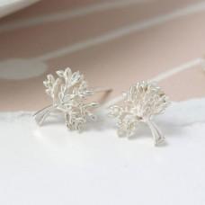 Sterling Silver Plain Tree Stud Earrings