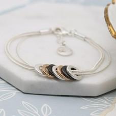 3 worn Colour Hammered Circle Bracelet