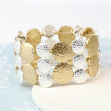 Worn Gold and Silver Hammered Disc Bracelet