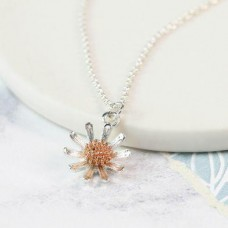 Silver plated and rose gold daisy necklace
