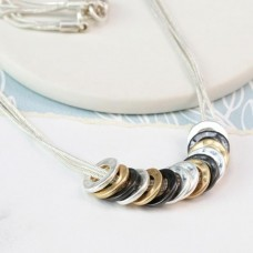 Mixed finish multi hoop necklace