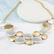 Worn Gold & Silver Hammered Disc Necklace