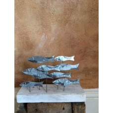 Tin school of fish on wooden base