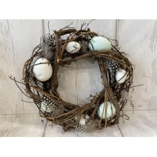 Twig Easter Wreath with Eggs and Feathers