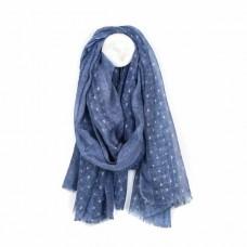 Soft Washed Lurex Blue Scarf