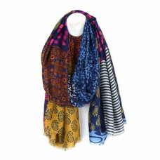 Indian Style Tassled Scarf Blue Mustard