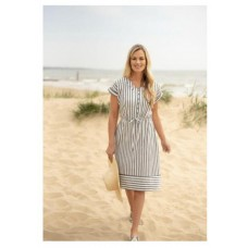 BRAKEBURN WOVEN STRIPE DRESS BLUE WHITE Was £45