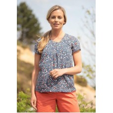 BRAKEBURN WOMENS DITSY WOVEN BLOUSE BLUE   Was £28
