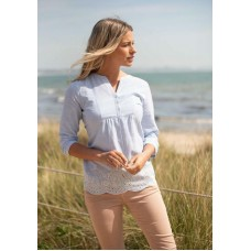 BRAKEBURN WOMENS SCALLOPED HEM BLOUSE Was £36.95