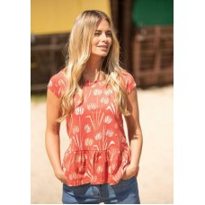 BRAKEBURN WOMANS WATER REED TEE RED  Was £27.95