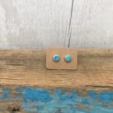 Sterling Silver Ocean Blue Opal Stud Earrings