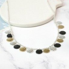 Mixed finish multi disc necklace