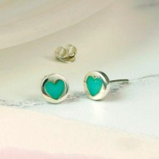 Sterling Silver And Turquoise Heart Earrings