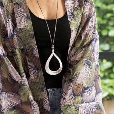 Large Hammered Teardrop Necklace Silver Plated