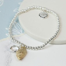 Bracelet with Gold shell and crystal Silver Plated