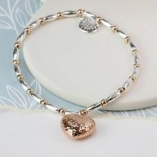 Rose gold heart bracelet silver plated