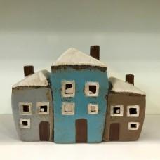 Row of Ceramic T-light Cottages