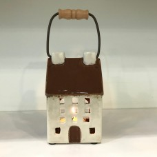 Small Ceramic T-light House with Handle