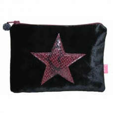 LUA Snakeskin Star Velvet Coin Purse Black
