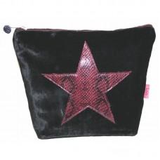Large Snakeskin Cosmetic Bag Black