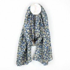 Blue recycled scarf with layered heart print