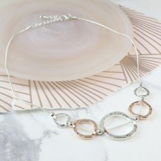 Silver plated and rose gold plated mixed hoop necklace