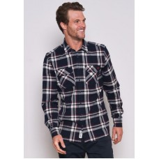 BRAKEBURN Navy Checked Flannel Shirt RRP £45