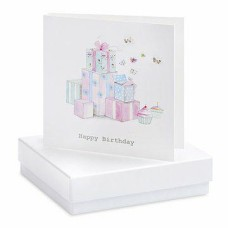 Happy Birthday Butterfly Boxed Silver Earrings