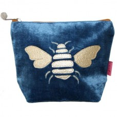 Gold Bee Small Cosmetic Purse Cerulean Blue