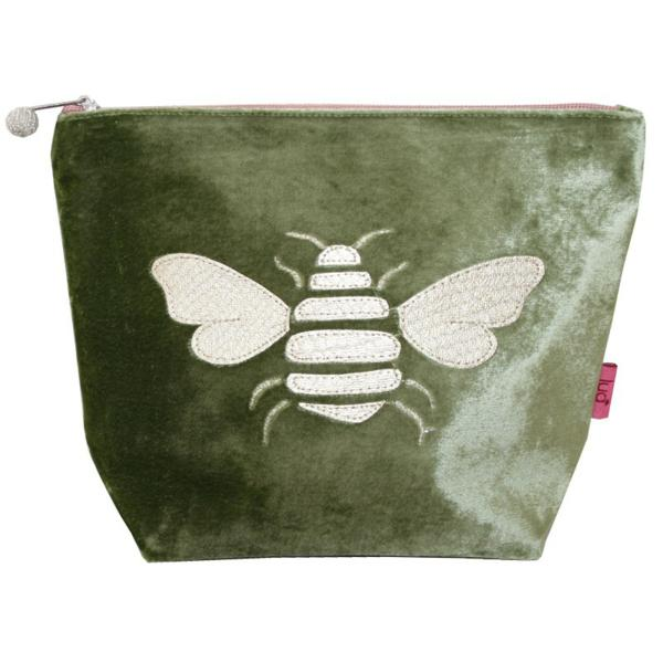 Gold Bee Large Cosmetic Purse Olive