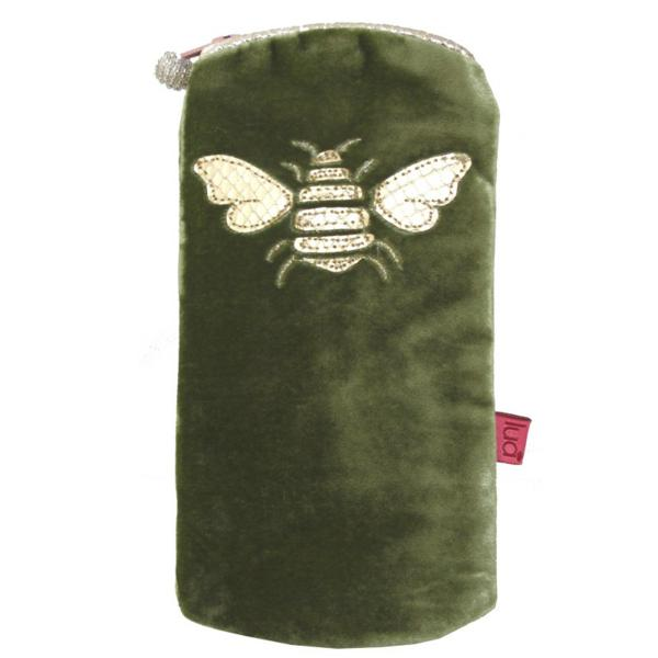 Gold Bee Glasses Purse Olive