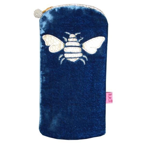 Gold Bee Glasses Purse Cerulean Blue