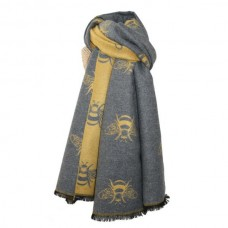 Thick Bees Scarf Mustard/Grey