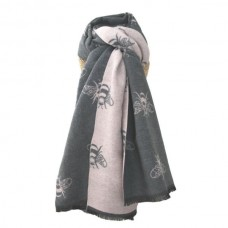 Thick Bees Scarf Grey/Pale Pink