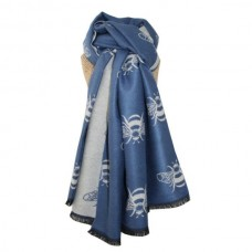 Thick Bees Scarf Blue/Natural
