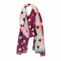 Reversible Hearts Jacquard Scarf Cherry