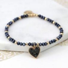 Black bead bracelet heart charm