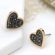 Gold plated heart Earrings black crystals