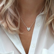 Silver plated necklace crystal inset heart
