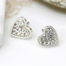 Silver plated heart crystal earrings