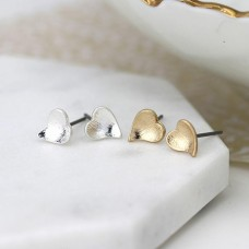 Set of two plated heart stud earrings