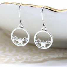 Silver plated circle stars earrings